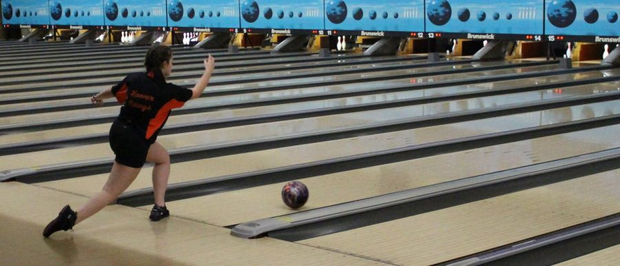 Freshman Lucia Conrad bowls during her match. The Vikes took on Perry Dec. 13.