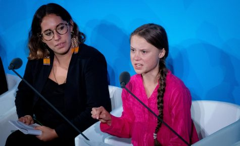 Climate activist Greta Thunberg, right, speaks at the United Nations Climate Change Conference on Sept. 23, 2019 in New York City. (Kay Nietfeld/DPA/Zuma Press/TNS/used with permission)