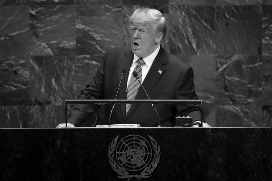 President Donald J. Trump addresses the United Nations General Assembly at UN headquarters Sept. 24 in NYC. World leaders from across the globe gathered at the 74th session of the UN General Assembly, amid crises including climate change.