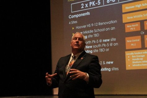 NCCS Superintendent Jeff Wendorf speaks to the community Sept. 4 in Hoover Hall.