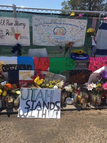 Memorials are displayed for victims outside Walmart, near the scene of a mass shooting which left 22 people dead Aug.6, in El Paso, Texas.