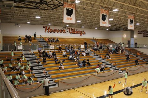 A socially distanced crowd takes in senior night for the volleyball team against St. Vincent-St. Mary High School on Sept. 29